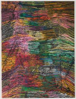 Harmony Korine, Scubby Line, 2014 House paint, oil, and collage on canvas, 124 × 93 inches (315 × 236.2 cm)Photo by Josh White