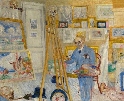 James Ensor, Squelette peintre (The Skeleton Painter), c. 1896 Oil on panel, 14 ⅝ × 17 ¾ inches (37 × 45 cm)Koninklijk Museum voor Schone Kunsten, Antwerp© 2014 Artists Rights Society (ARS), New York/SABAM, Brussels. Photo: Hugo Maertens