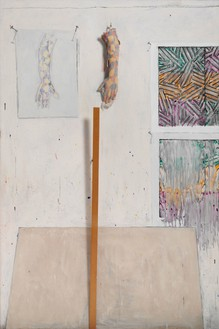 Jasper Johns, In the Studio, 1982 Encaustic and collage on canvas with objects, 72 × 48 × 5 inches (182.9 × 121.9 × 12.7 cm)Collection of the artist© Jasper Johns/Licensed by VAGA, New York. Photo: GraydonW