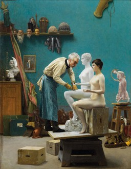 Jean-Léon Gérôme, Le travail du marbre, or L'artiste sculptant Tanagra (Working in Marble, or The Artist Sculpting Tanagra), 1890 Oil on canvas, 19 ⅞ × 15 ½ inches (50.5 × 39.4 cm)Dahesh Museum of Art, New YorkPhoto: Rob McKeever