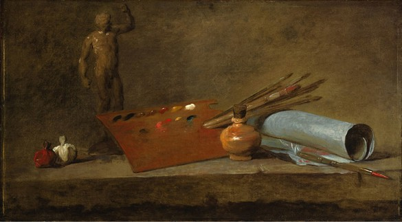Jean-Baptiste Siméon Chardin, Attributs du peintre (Attributes of the Painter), c. 1725–27 Oil on canvas, 19 ⅝ × 33 ⅞ inches (50 × 86 cm)Princeton University Art Museum, Gift of Helen Clay FrickPhoto: Bruce White