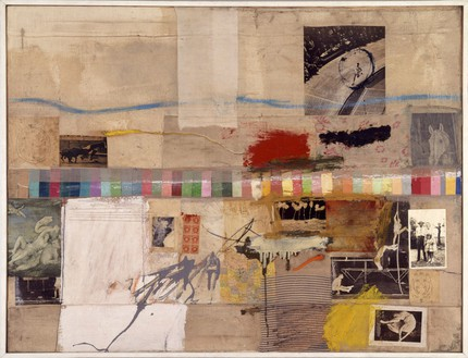 Robert Rauschenberg, Small Rebus, 1956 Oil, pencil, paint swatches, paper, newspaper, magazine clippings, black-and-white photograph, map fragments, fabric, and three-cent stamps on canvas, 37 ⅜ × 46 ¼ inches (95 × 117.5 cm)Museum of Contemporary Art, Los Angeles, The Panza Collection© Robert Rauschenberg Foundation/Licensed by VAGA, New York