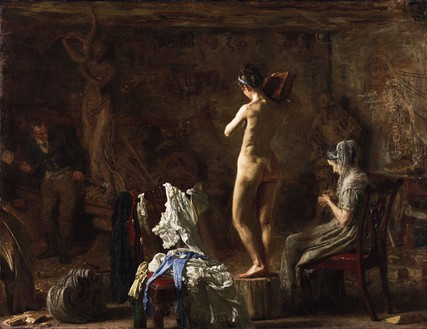 Thomas Eakins, William Rush Carving His Allegorical Figure of the Schuylkill River, 1876–77 Oil on canvas (later mounted on Masonite), 20 ⅛ × 26 ⅛ inches (51.1 × 66.4 cm)Philadelphia Museum of Art, Gift of Mrs. Thomas Eakins and Miss Mary Adeline Williams