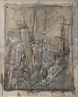Alberto Giacometti, L'atelier (The Studio), 1951 Oil on canvas, 29 ½ × 23 ½ inches (74.9 × 59.7 cm)Carnegie Museum of Art, Pittsburgh, Gift of Mr. and Mrs. Charles Zadok© Alberto Giacometti Estate/Licensed by VAGA and ARS, New York
