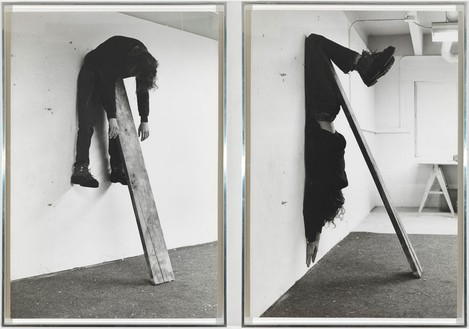 Charles Ray, Plank Piece I–II, 1973 Gelatin silver prints mounted on rag board, in 2 parts, each: 39 ½ × 27 inches (100.3 × 68.6 cm)© Charles Ray. Photo: Rob McKeever
