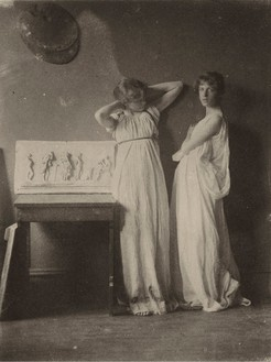 Thomas Eakins, Two Pupils in Greek Dress, 1880 Platinum print, 8 ⅞ × 6 ⅝ inches (22.4 × 16.7 cm)The Metropolitan Museum of Art, New York, Gift of Charles Bregler