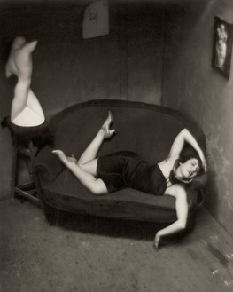 André Kertész, Satiric Dancer, Paris, 1926 Gelatin silver print, 3 ⅞ × 3 ⅛ inches (9.7 × 7.9 cm)© Estate of André Kertész/Higher Pictures