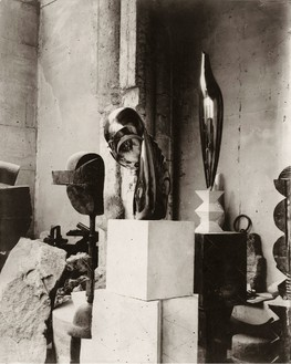 Constantin Brancusi, View of the studio: Plato, Mademoiselle Pogany II, and Golden Bird, c. 1920 Gelatin silver print, 11 ¾ × 9 ½ inches (29.8 × 24.1 cm)© 2014 Artists Rights Society (ARS), New York/ADAGP, Paris