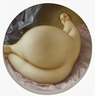 John Currin, Nude in a Convex Mirror, 2015 Oil on canvas, 42 × 42 inches (106.7 × 106.7 cm)Photo: Douglas M. Parker Studio