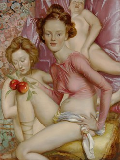 John Currin, Maenads, 2015 Oil on canvas, 48 × 36 × 1 ¼ inches (121.9 × 91.4 × 3.2 cm)Photo: Douglas M. Parker Studio