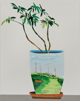 Jonas Wood, Landscape Pot, 2014 Oil and acrylic on canvas, 118 × 93 inches (299.7 × 236.2 cm)