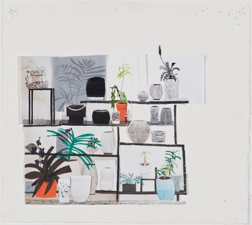Jonas Wood, Black Still Life Collage, 2012 Glue, photocopies and tape, and colored pencil on paper, 11 ¼ × 12 ½ inches (28.6 × 31.8 cm)