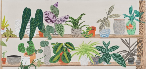 Jonas Wood, Shelf (Highline Proposal), 2013 Gouache and colore pencil on paper, 19 ½ × 41 inches (49.5 × 104.1 cm)