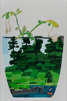 Jonas Wood, Landscape Pot with Night Bloom, 2014 Oil and acrylic on canvas, 114 × 76 inches (289.6 × 193 cm)
