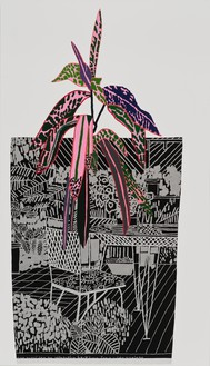 Jonas Wood, Pink Plant with Black Landscape Pot, 2014 Oil and acrylic on canvas, 66 × 38 inches (167.6 × 96.5 cm)