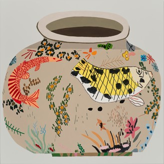 Jonas Wood, M.S.F. Fish Pot #4, 2014 Oil and acrylic on canvas, 65 × 65 inches (165.1 × 165.1 cm)
