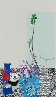 Jonas Wood, Blue Pot Still Life, 2014 Oil and acrylic on canvas, 66 × 38 inches (167.6 × 96.5 cm)