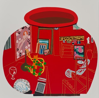 Jonas Wood, Red Studio Pot, 2014 Oil and acrylic on canvas, 72 × 72 inches (182.9 × 182.9 cm)