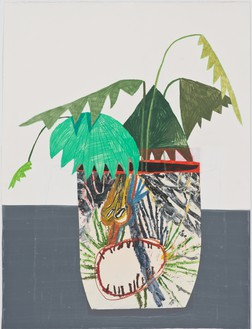 Mark Grotjahn & Jonas Wood, Collaboration with Grotjahn, 2008 Acrylic, colored pencil, oil, and collage on paper, 10 ¾ × 31 inches (27.3 × 78.7 cm)