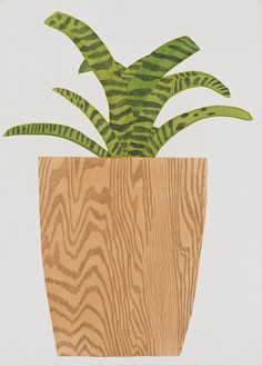 Jonas Wood, Wood Pot with Bromeliad, 2015 Gouache and colored pencil on paper, 41 ¾ × 30 ¼ inches (106 × 76.8 cm)© Jonas Wood