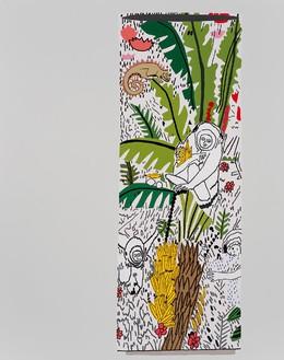 Jonas Wood, Monkey Pot #1, 2015 Oil and acrylic on canvas, 118 × 90 inches (299.7 × 228.6 cm)© Jonas Wood