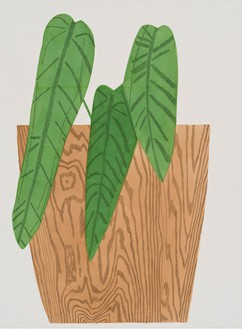 Jonas Wood, Wood Pot with Plant #3, 2015 Gouache and colored pencil on paper, 41 ⅞ × 30 ⅝ inches (106.4 × 77.8 cm)© Jonas Wood