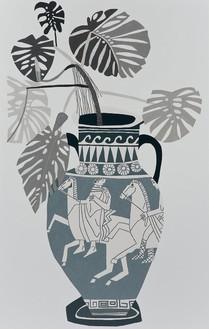 Jonas Wood, Grey Greek Pot, 2015 Oil and acrylic on canvas, 120 × 76 inches (304.8 × 193 cm)© Jonas Wood