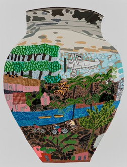 Jonas Wood, Frimkess Chilean Landscape Pot, 2015 Oil and acrylic on canvas, 118 × 90 inches (299.7 × 228.6 cm)© Jonas Wood
