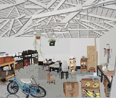 Jonas Wood, Shio's Studio on Palms, 2015 Oil and acrylic on canvas, 112 × 132 inches (284.5 × 335.3 cm)© Jonas Wood