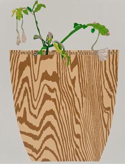 Jonas Wood, Wood Grain Pot with Night Bloom, 2015 Oil and acrylic on canvas, 118 × 90 inches (299.7 × 228.6 cm)© Jonas Wood