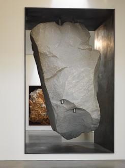 Michael Heizer, Potato Chip, 2015 18-ton granite rock in steel frame, 172 × 106 ¾ × 92 inches (436.9 × 271.1 × 233.7 cm)Photo: Rob McKeever