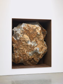 Michael Heizer, Asteroid, c. 2000 12-ton ore rock in weathered steel frame, 127 ½ × 104 ¼ × 52 inches (323.9 × 264.8 × 132.1 cm)Photo: Rob McKeever