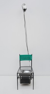 Nam June Paik, TV Chair, 1968 Closed-circuit video (black and white) with television and chair with plastic seat, 33 × 17 × 15 inches (83.8 × 43.2 × 38.1 cm)© Nam June Paik Estate