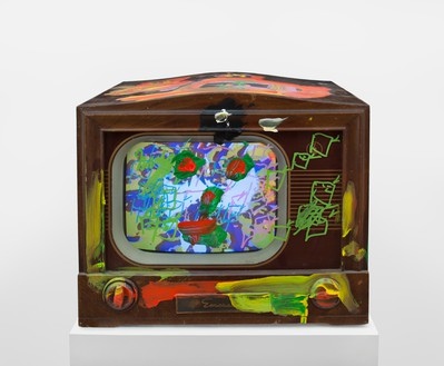 Nam June Paik, Third Eye Television, 2005 Single-channel video (color, sound) in vintage television with permanent oil marker and acrylic, 17 ½ × 20 ¾ × 18 ¾ inches (44.5 × 52.7 × 47.6 cm)© Nam June Paik Estate