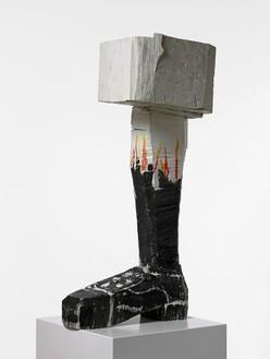 Georg Baselitz, Römischer Gruß (Roman Salute), 2004 Patinated bronze and oil paint, 52 ⅛ × 14 ⅝ × 27 ½ inches (132.5 × 37 × 70 cm), edition of 6© Georg Baselitz. Photo: Jochen Littkemann