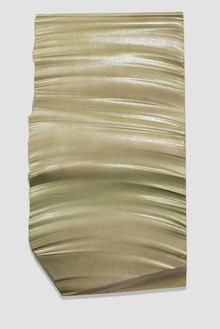 Piero Golia, Intermission painting #47 silver to gold, 2015 EPS foam, hard coat and pigment, 86 × 48 × 4 inches (218.4 × 121.9 × 10.2 cm)Photo by Josh White