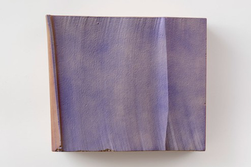 Piero Golia, Intermission painting #21 red to purple, 2014 (view 2) EPS foam, hard coat and pigment, 24 × 28 × 14 ¼ inches (61 × 71.1 × 36.2 cm)Photo by Josh White