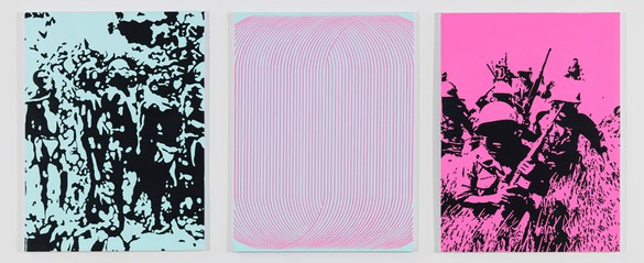 Richard Phillips, Endless II, 2014 Oil and wax emulsion on linen, Triptych: 40 × 30 inches each (101.6 × 76.2 cm)Photo by Rob McKeever