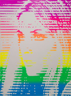 Richard Phillips, Rainbow Sharon, 2015 Oil and wax emulsion on linen, 64 ⅛ × 48 ¼ inches (162.9 × 122.6 cm)Photo by Rob McKeever