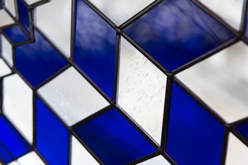 Richard Wright, No title, 2015 (detail) Leaded glass, 181 ⅛ × 68 ½ inches (460 × 174 cm)Photo by Matteo D'Eletto M3 Studio