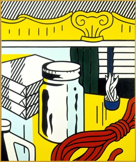 Roy Lichtenstein, Still Life with Red Cord, 1983 Oil and Magna on canvas, 48 × 40 inches (121.9 × 101.6 cm)© Estate of Roy Lichtenstein