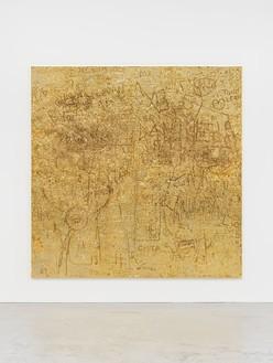 Rudolf Stingel, Untitled, 2012 Electroformed copper, plated nickel, and gold, 94 ½ × 94 ½ inches (240 × 240 cm)© Rudolf Stingel. Photo: Alessandro Zambianchi