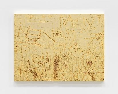 Rudolf Stingel, Untitled, 2012 Electroformed copper, plated nickel, and gold, 35 ⅜ × 47 ¼ inches (89.9 × 120 cm)© Rudolf Stingel. Photo: Alessandro Zambianchi