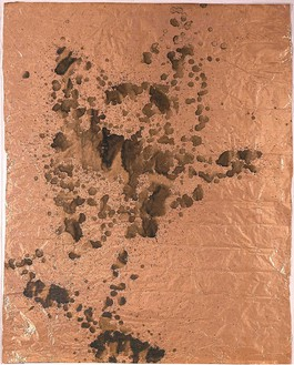 Andy Warhol, Oxidation, 1978 Urine on copper foil, 50 ⅛ × 39 ¼ inches (127.3 × 99.7 cm)© 2015 The Andy Warhol Foundation for the Visual Arts, Inc.