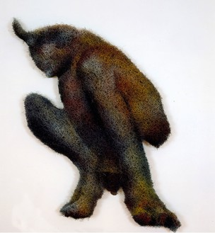 Richard Artschwager, Satyr, 2001 Acrylic, rubberized hair, and Masonite, 57 × 32 × 2 ½ inches (144.8 × 81.3 × 6.4 cm)