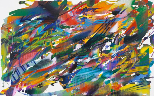 Katharina Grosse, Untitled, 2015 Acrylic on canvas, 94 ½ × 152 ¾ inches (240 × 388 cm)© Katharina Grosse and VG Bild-Kunst Bonn, 2015. Photo: Olaf Bergmann