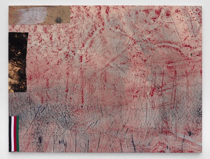 Sterling Ruby, TCOM KUWAIT, 2015 Acrylic, elastic, treated fabric, and cardboard on canvas, 96 × 126 inches (243.8 × 320 cm)© Sterling Ruby, photo by Robert Wedemeyer