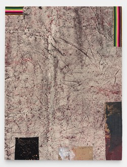 Sterling Ruby, IMPERIAL FAULT, 2015 Acrylic, elastic, treated fabric, and cardboard on canvas, 126 × 96 inches (320 × 243.8 cm)© Sterling Ruby, photo by Robert Wedemeyer