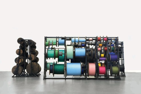 Tatiana Trouvé, Untitled, 2014 (view 1) Metal, paint, wood, ink, oil, and rope, 28 ¾ × 80 ¾ × 41 ½ inches (73 × 205.1 × 105.4 cm)© Tatiana Trouvé, photo by Laurent Edeline