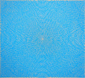 Y. Z. Kami, Blue Dome I, 2010 Mixed media on linen, 40 × 44 inches (101.6 × 111.8 cm)